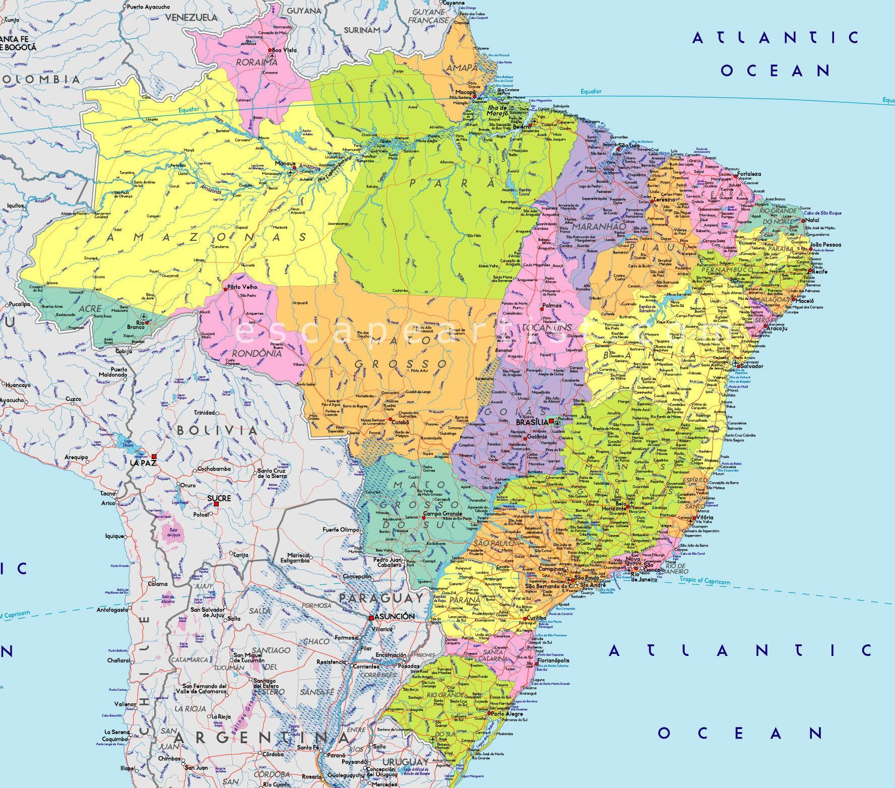 brazília térkép Brazília szervezeti térkép   Térkép Brazília megyéiben (Dél  brazília térkép
