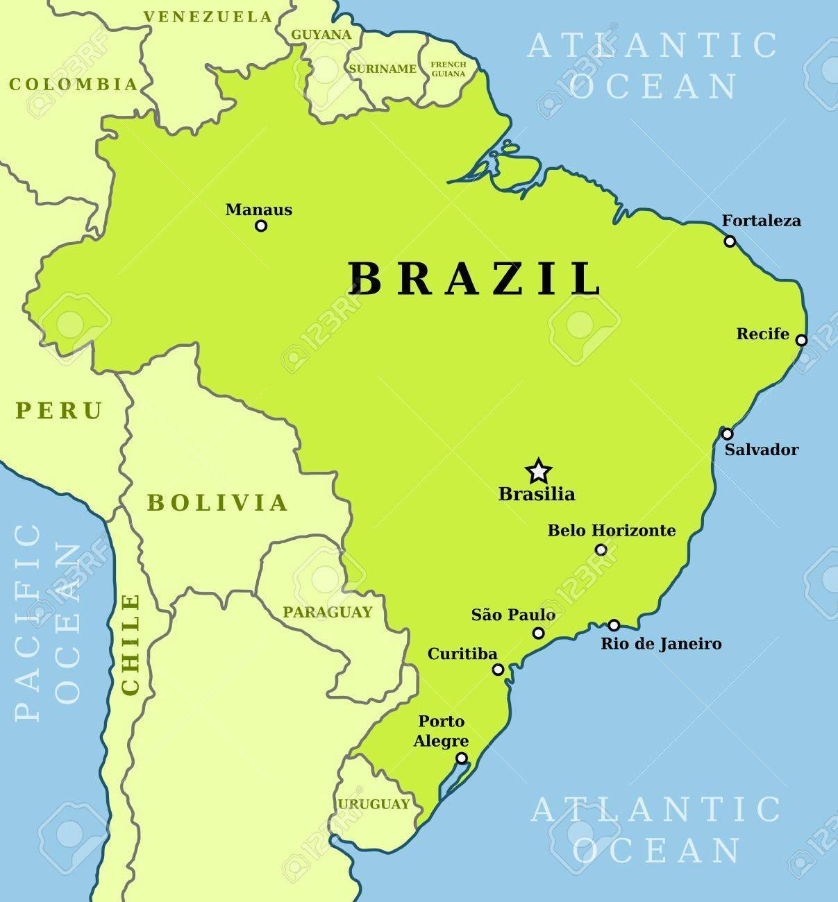 brazília térkép Térkép Brazília városok   Brazília térkép városok (Dél Amerika  brazília térkép