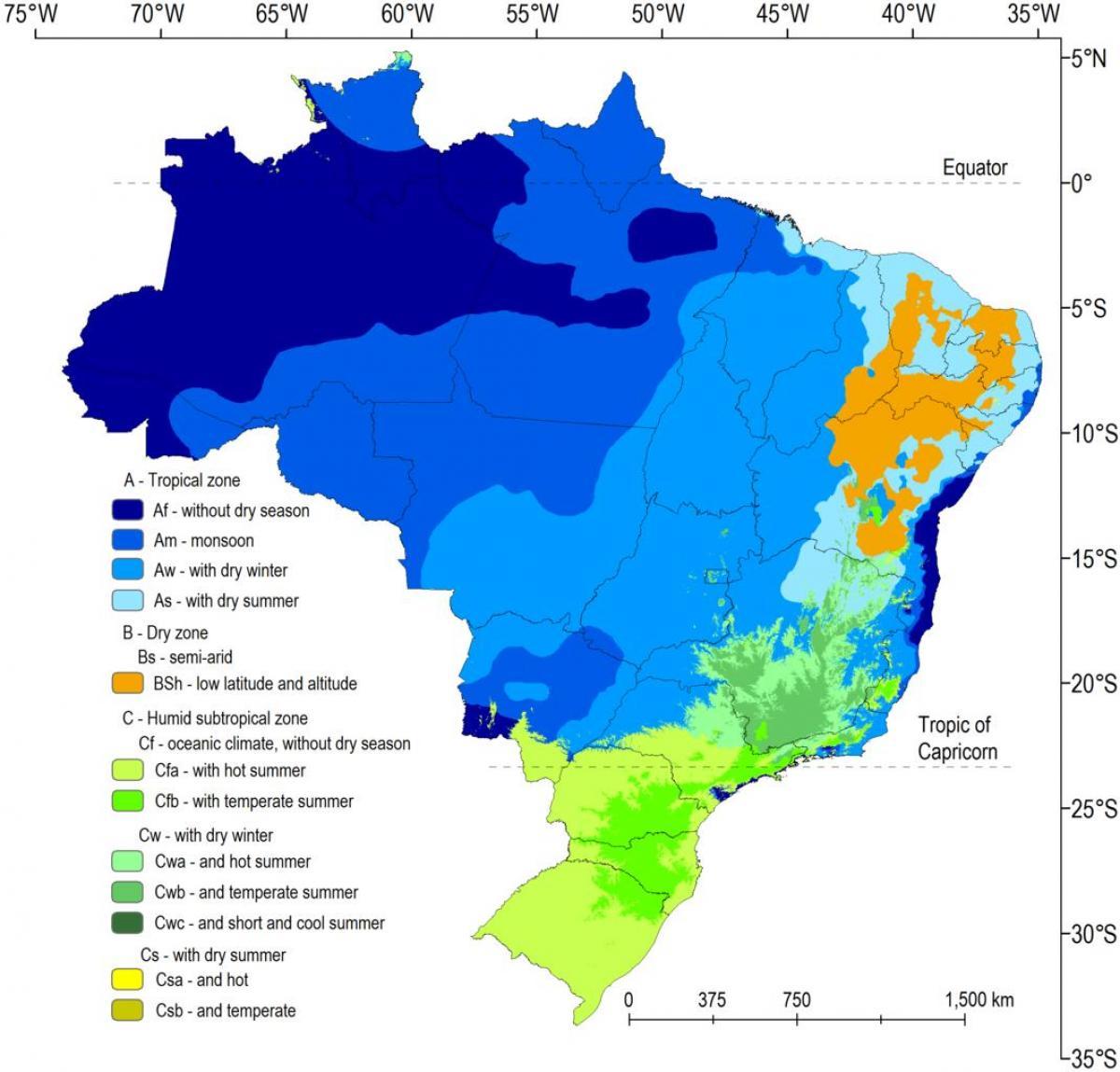 Brazilia Eghajlati Terkep Eghajlati Terkep Brazilia Del Amerika