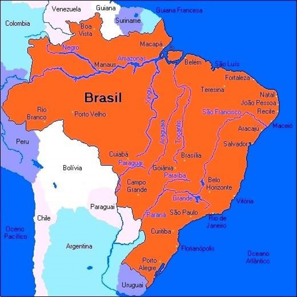 brazília térkép Brazília folyók térkép   Brazília térkép folyók (Dél Amerika  brazília térkép